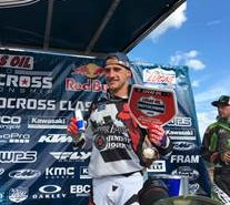 Bel-Ray sponsored rider Ken Roczen of RCH Soaring Eagle/Jimmy Johns/Suzuki celebrates his 450MX victory at the AMA Pro Motocross Championship season opener on May 21 at the Hangtown Motocross Classic. Photo Credit: Simon Cudby