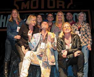 the family celebrating with performance artist perego (artofperego.com) at the 20th anniversary party during bike week 2014 at destination daytona.